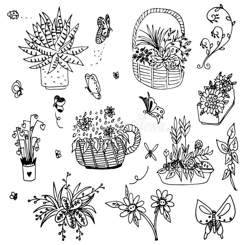 Вектор цветка и бабочки букета doodle чертеж свободной руки бесплатная иллюстрация