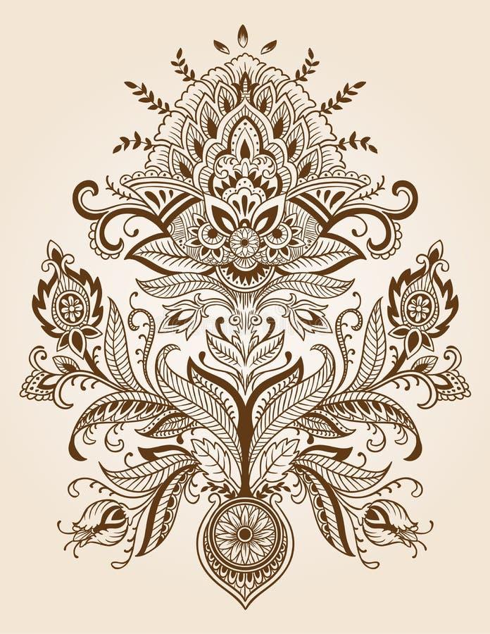 Вектор цветка Пейсли шнурка хны иллюстрация вектора