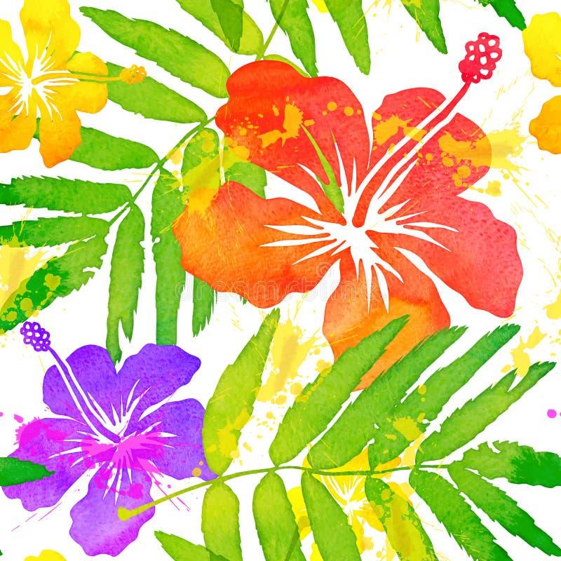 Вектор цветков яркой акварели тропический безшовный иллюстрация штока