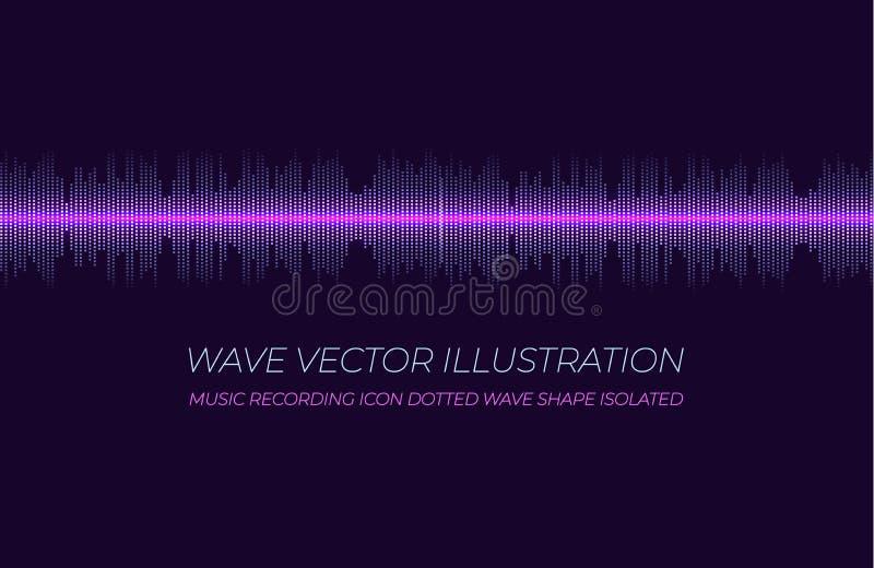 Вектор цифров выравнивает, линия Soundwave накаляя, Vibrationas и пульсирование, светит иллюстрации иллюстрация вектора