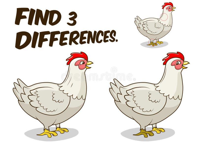 Вектор цыпленка курицы игры разницах в находки бесплатная иллюстрация
