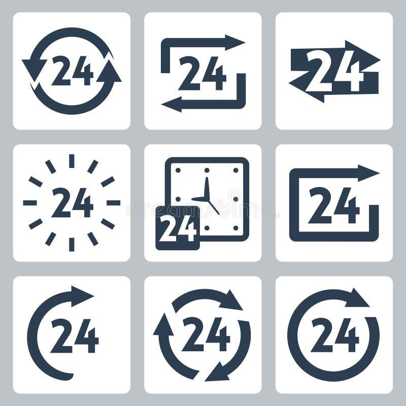 Вектор '24 часа' установленных значков бесплатная иллюстрация