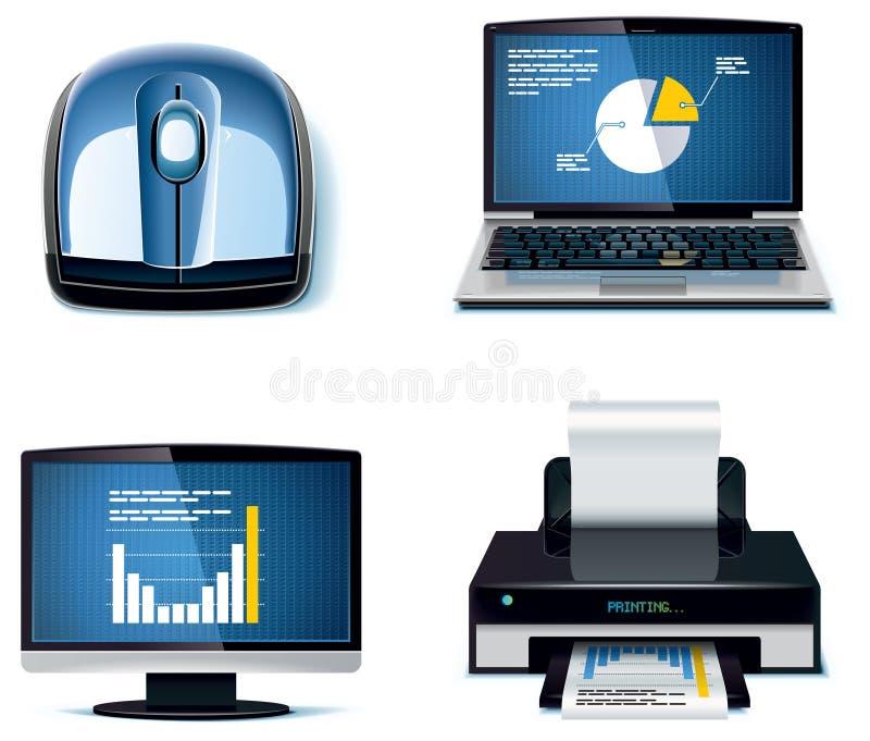 вектор части офиса 3 икон установленный бесплатная иллюстрация