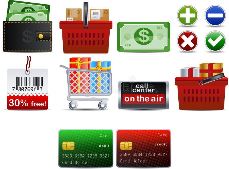 вектор части 3 икон shoping бесплатная иллюстрация