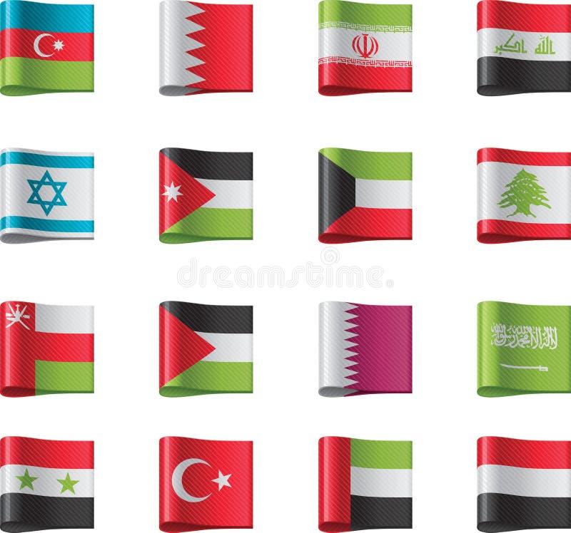 вектор части 8 флагов Азии иллюстрация штока