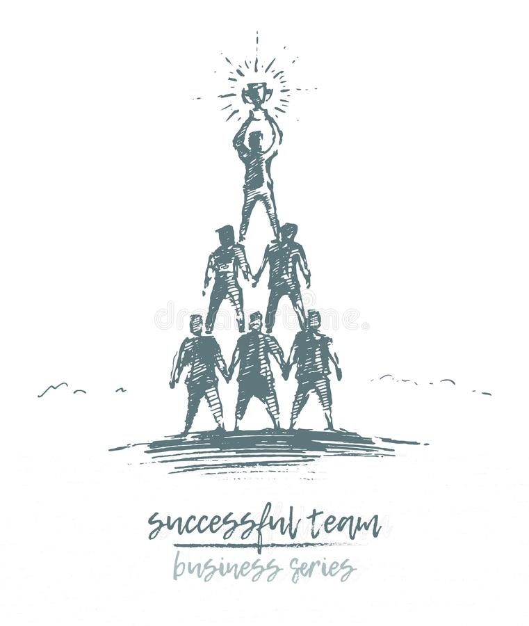 Вектор чашки команды людей группы концепции дела бесплатная иллюстрация
