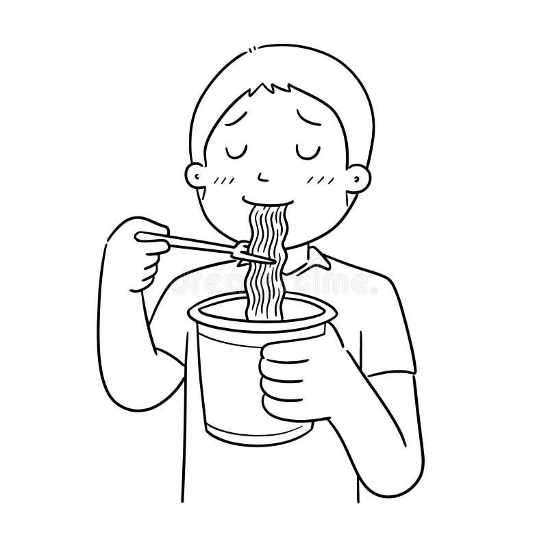Вектор человека ест лапшу иллюстрация штока
