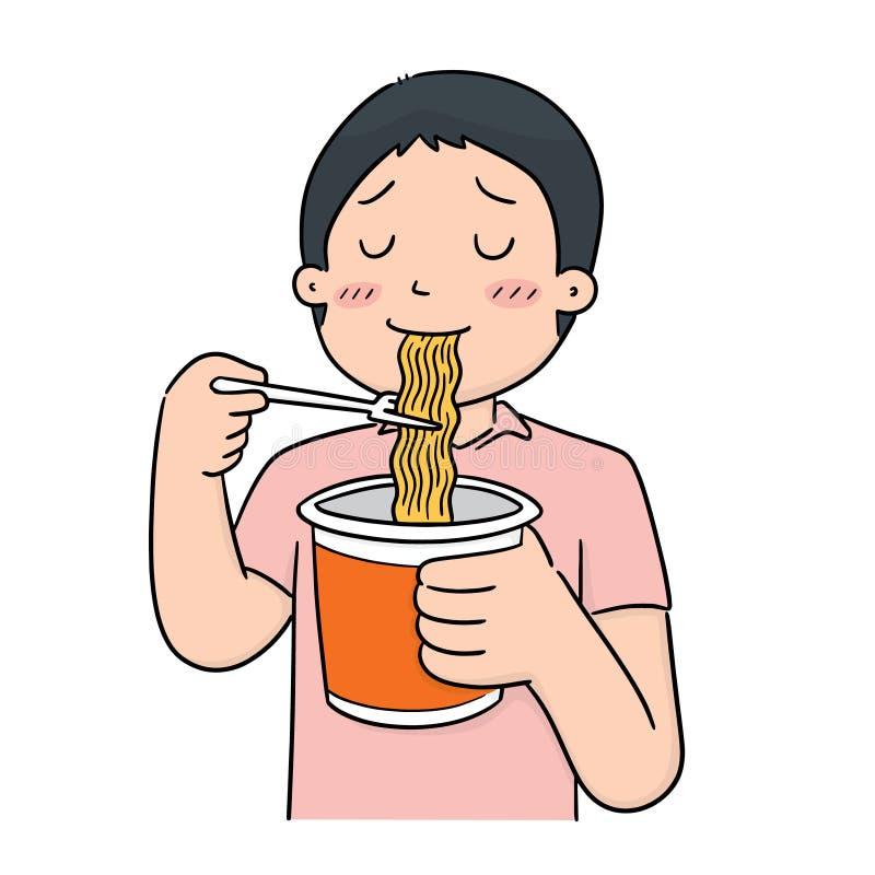 Вектор человека ест лапшу иллюстрация вектора