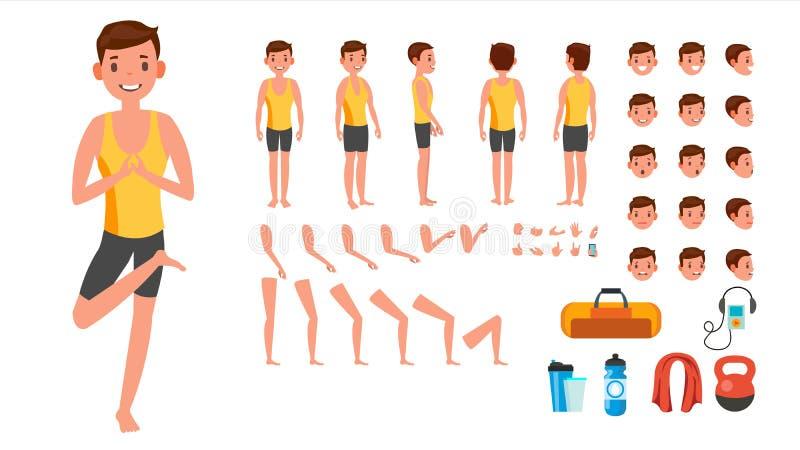 Вектор человека йоги Пренатальная йога одушевила комплект творения характера Человек полнометражный, передний, сторона, задний вз иллюстрация вектора