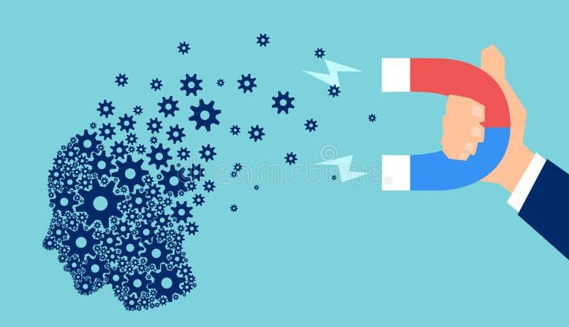 Вектор человеческой головы сделанной из шестерней будучи привлеканным с магнитом бесплатная иллюстрация
