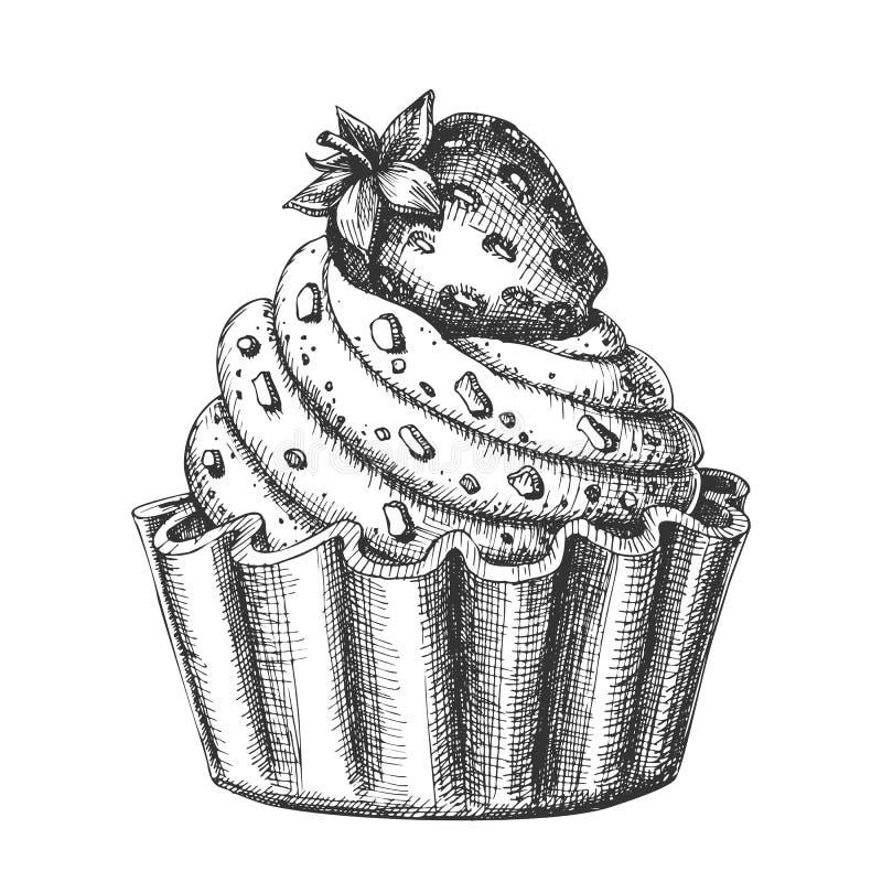 Вектор чернил десерта сметанообразного очень вкусного торта сладкий иллюстрация вектора