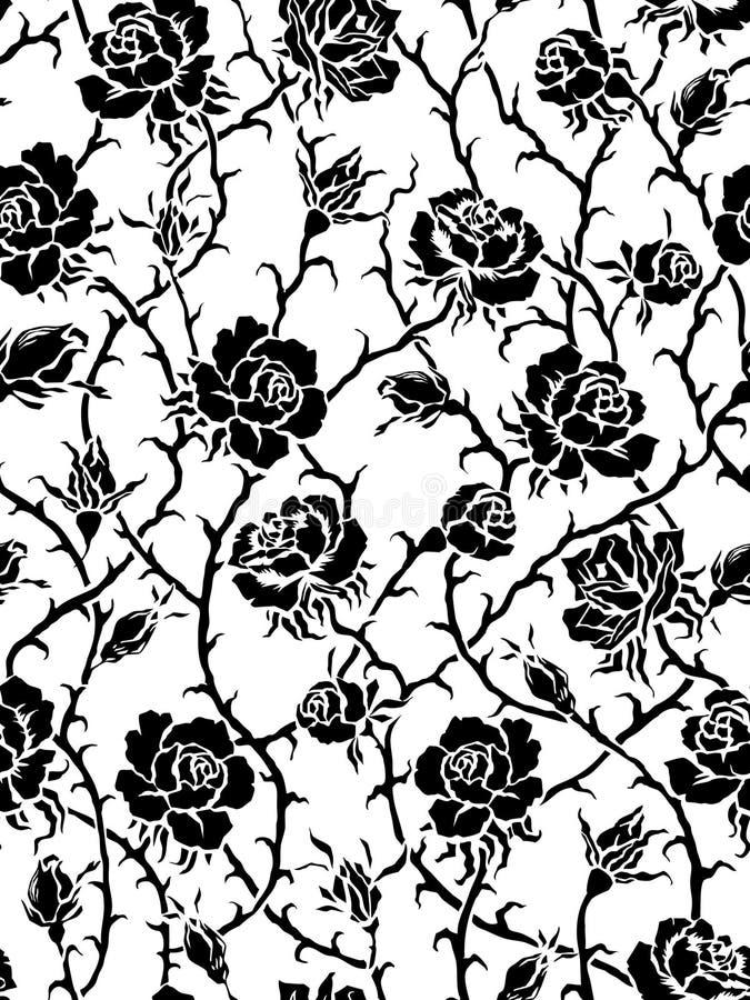 вектор черных роз картины безшовный иллюстрация штока
