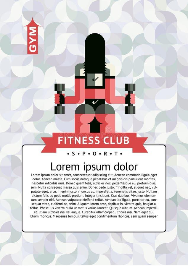 Вектор шаблона A4 вертикальный для рогулек, крышек, плакатов Фитнес, спорт, жизнь бесплатная иллюстрация