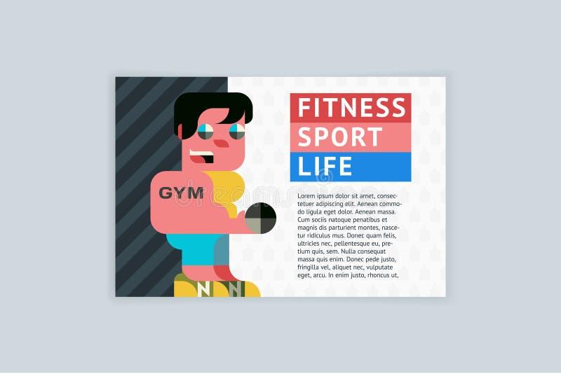 Вектор шаблона A4 горизонтальный для рогулек, крышек, плакатов Фитнес, спорт, жизнь иллюстрация вектора