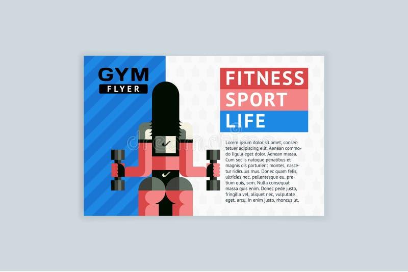 Вектор шаблона A4 горизонтальный для рогулек, крышек, плакатов Фитнес, спорт, жизнь бесплатная иллюстрация