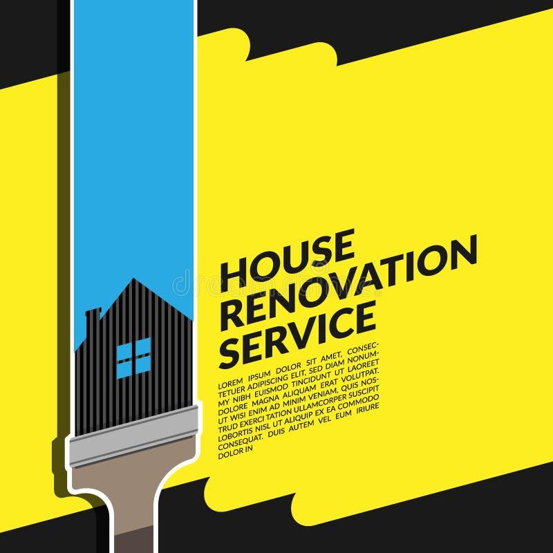 Вектор шаблона дизайна логотипа творческого обслуживания реновации дома голубого с кистью изолированной на желтом цвете иллюстрация штока