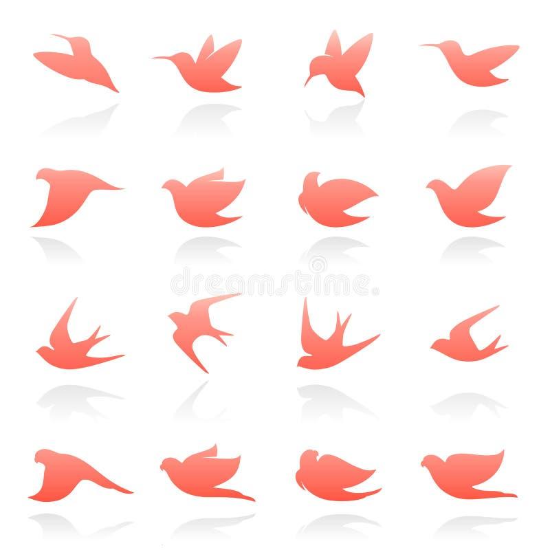 вектор шаблона логоса птиц установленный иллюстрация штока