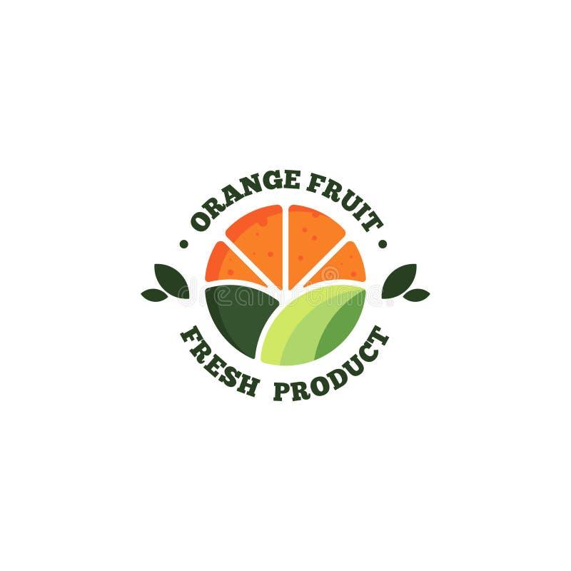 Вектор шаблона логотипа свежих фруктов Свежий оранжевый вектор шаблона логотипа плода иллюстрация штока