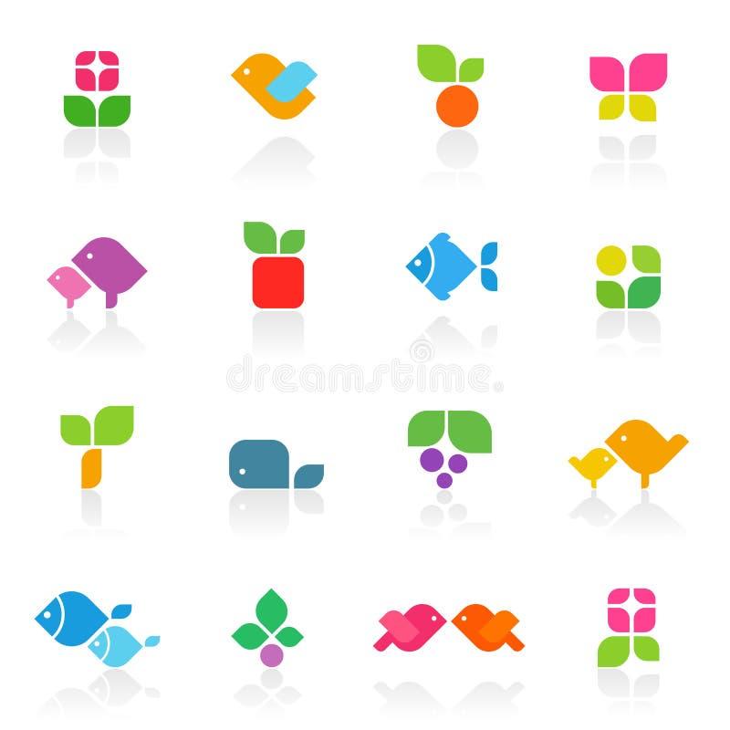 вектор шаблона цветастой природы логоса установленный иллюстрация вектора