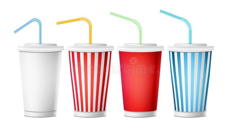 Вектор шаблона чашки соды реалистические бумажные устранимые чашки 3d установленные для напитков с выпивая соломой Изолировано на иллюстрация штока