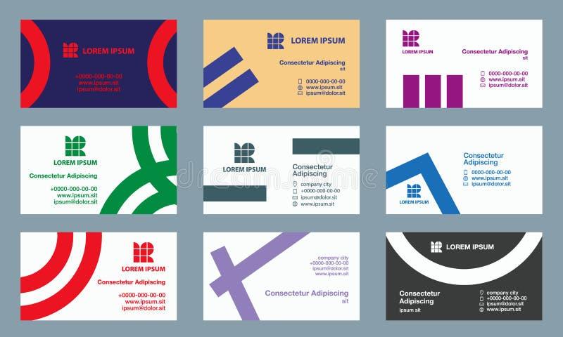 вектор шаблонов illusrtation визитных карточек установленный Современный минималистский геометрический клеймить для визитной карт иллюстрация штока