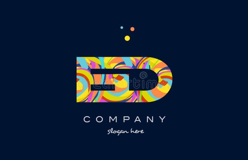 вектор шаблона значка логотипа письма алфавита ed e d красочный бесплатная иллюстрация