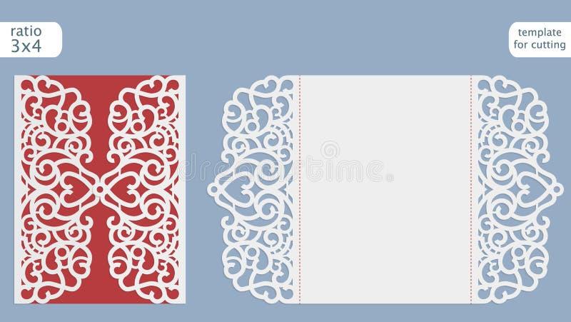 Вектор шаблона карточки приглашения свадьбы отрезка лазера Отрежьте вне бумажную карточку с картиной шнурка Шаблон поздравительно бесплатная иллюстрация