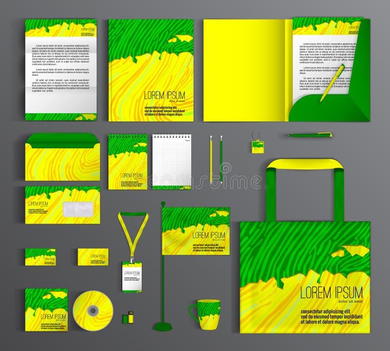 вектор шаблона корпоративной тождественности дела произведений искысства Установите с дизайном желтого цвета и зеленого цвета бесплатная иллюстрация