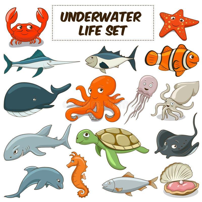 Вектор шаржа подводными установленный животными иллюстрация штока