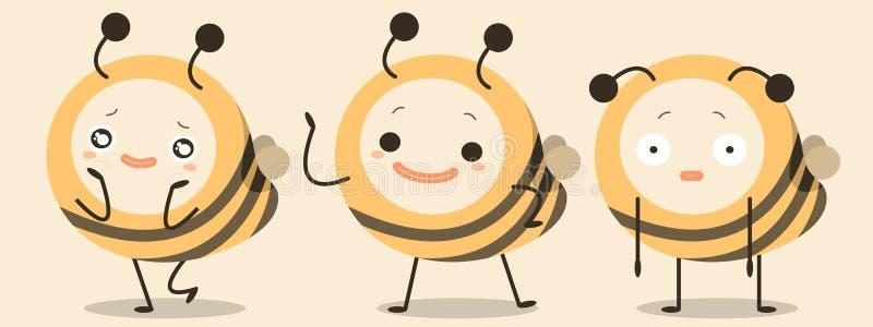 Вектор шаржа характера пчел смешной стоковые фотографии rf