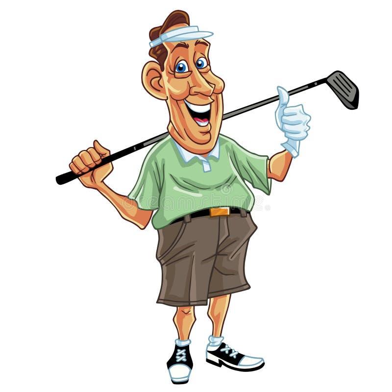 Вектор шаржа человека игрока в гольф