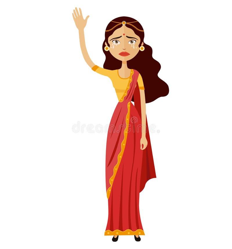 Вектор шаржа эмоции руки бизнес-леди Индии плача развевая до свидания иллюстрация вектора