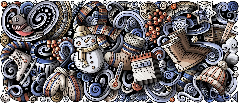 Вектор шаржа doodles иллюстрация нашивки зимы вертикальная горизонтальная бесплатная иллюстрация