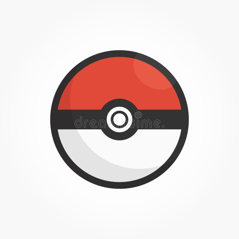 Вектор шарика pokemon на серой предпосылке виньетки иллюстрация вектора