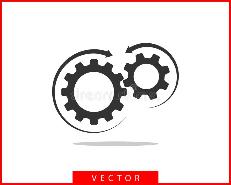 Вектор шестерней и cogs металла Дизайн значка шестерни плоский Логотип колес механизма Шаблон концепции Cogwheel иллюстрация штока