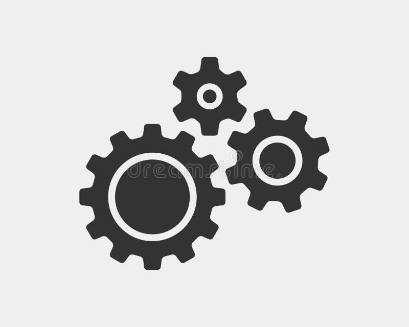 Вектор шестерней и cogs металла Дизайн значка шестерни плоский Логотип колес механизма Шаблон концепции Cogwheel иллюстрация вектора