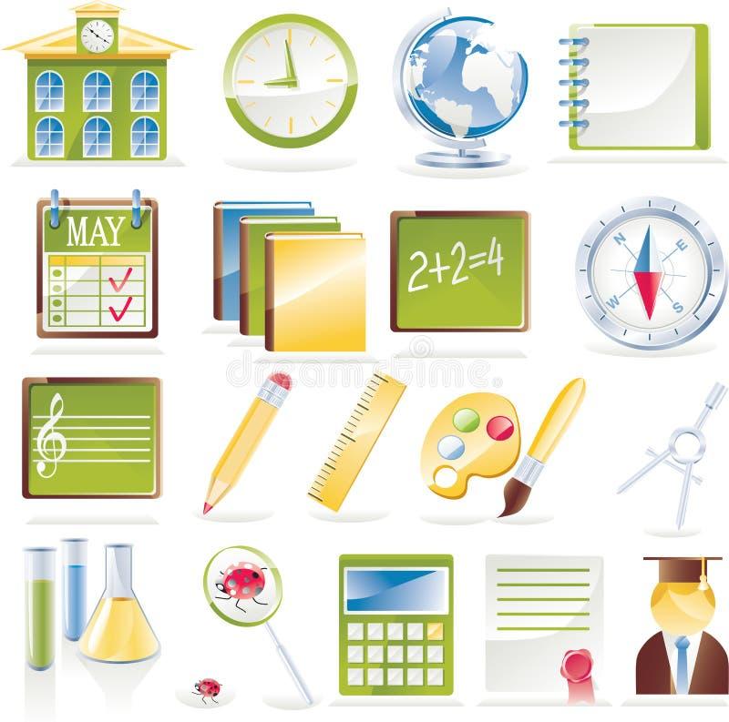 вектор школы иконы установленный бесплатная иллюстрация
