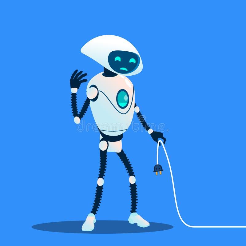 Вектор шнура уставшего удерживания робота поручая потерянное соединение изолированная иллюстрация руки кнопки нажимающ женщину ст иллюстрация вектора