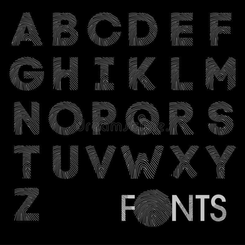 Вектор шрифта смелейшего алфавита отпечатка пальцев самый лучший стоковое изображение