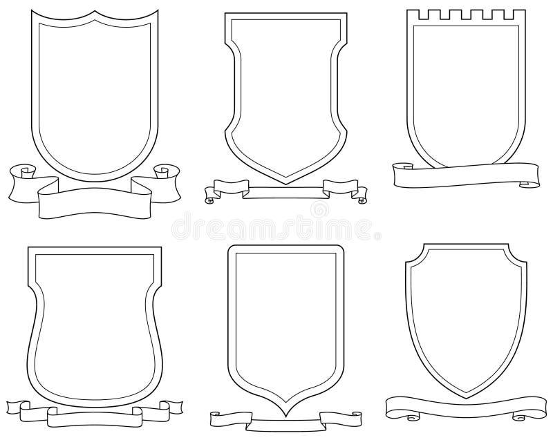 вектор экранов эмблем гребеней установленный переченями иллюстрация вектора