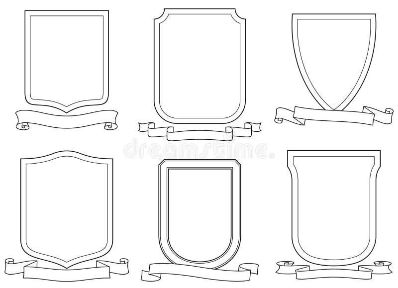 вектор экранов эмблем гребеней установленный переченями иллюстрация штока