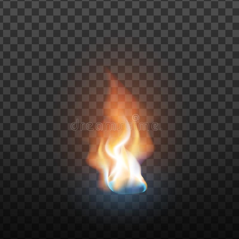 Вектор элемента пламени реалистического дизайна горя иллюстрация вектора