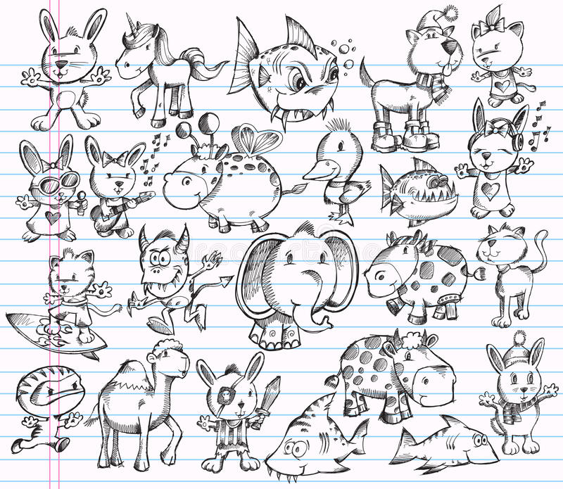 вектор эскиза животного doodle конструкции установленный бесплатная иллюстрация