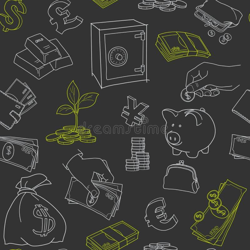 Вектор эскиза doodle символов денег безшовный иллюстрация вектора
