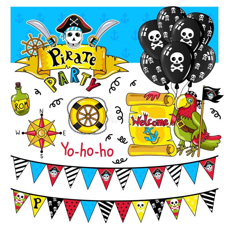 Вектор элементов партии пирата на белой предпосылке иллюстрация штока
