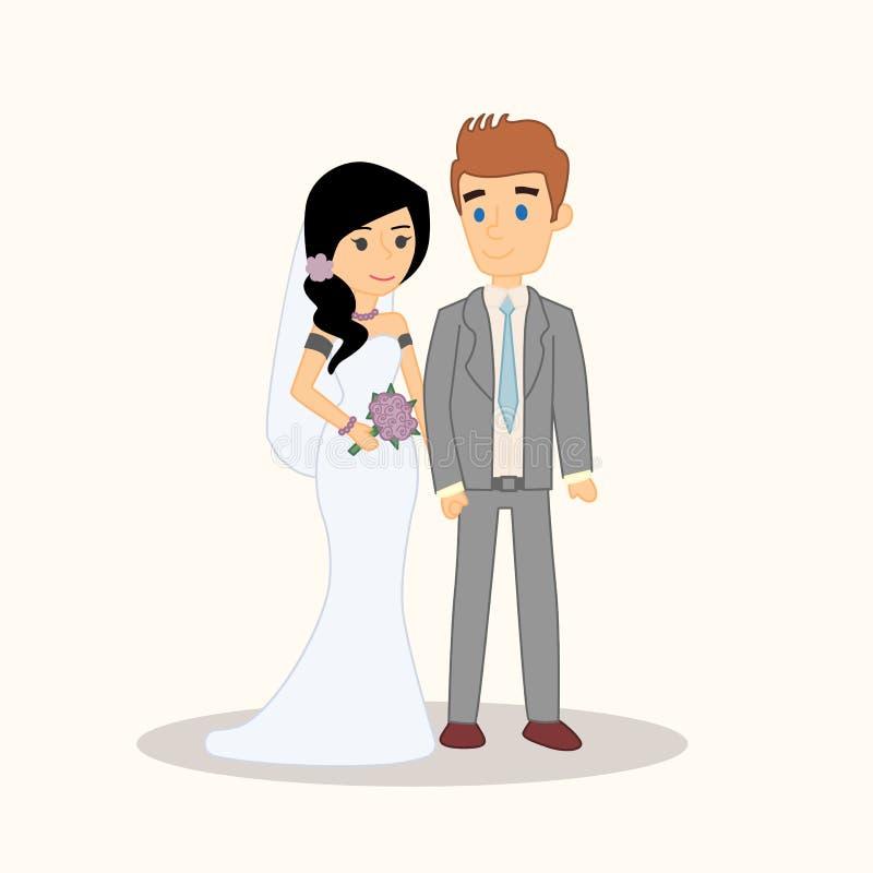 Вектор людей пар свадьбы изолированный характерами Иллюстрация вектора жениха и невеста для приглашения, поздравительной открытки иллюстрация штока