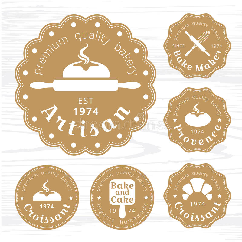 Вектор ярлыка хлебопекарни логотипа золот стоковое фото