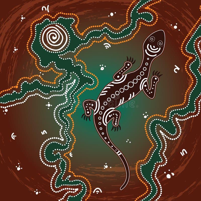 Вектор ящерицы, аборигенная предпосылка искусства с ящерицей иллюстрация штока
