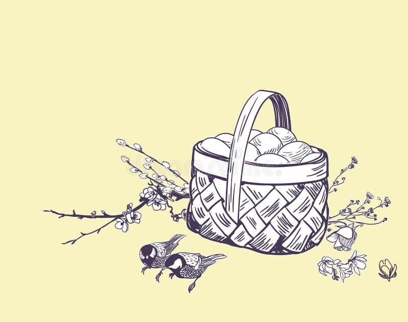 Вектор яя корзины пасхи гравирует изолированную карту иллюстрация штока