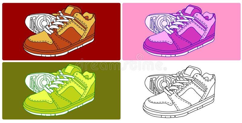 вектор 4 ботинок иллюстрация вектора